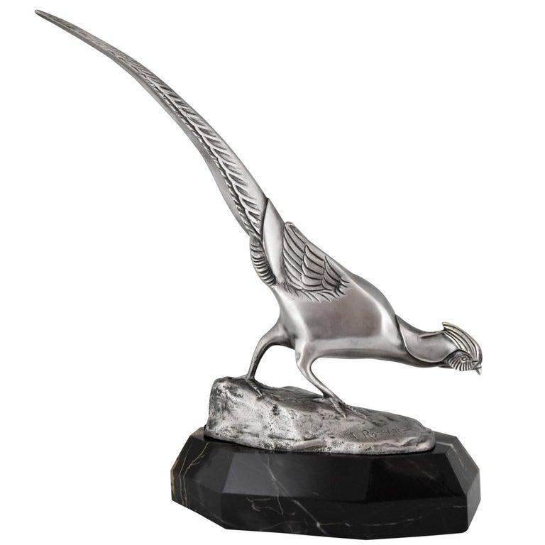 Art Deco Bronze Sculpture of a Pheasant Irenée Rochard, 1920 For Sale