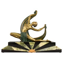 Art Deco Bronze Sculpture of a Scarf Dancer on Sunburst Base Jean Lormier, 1925