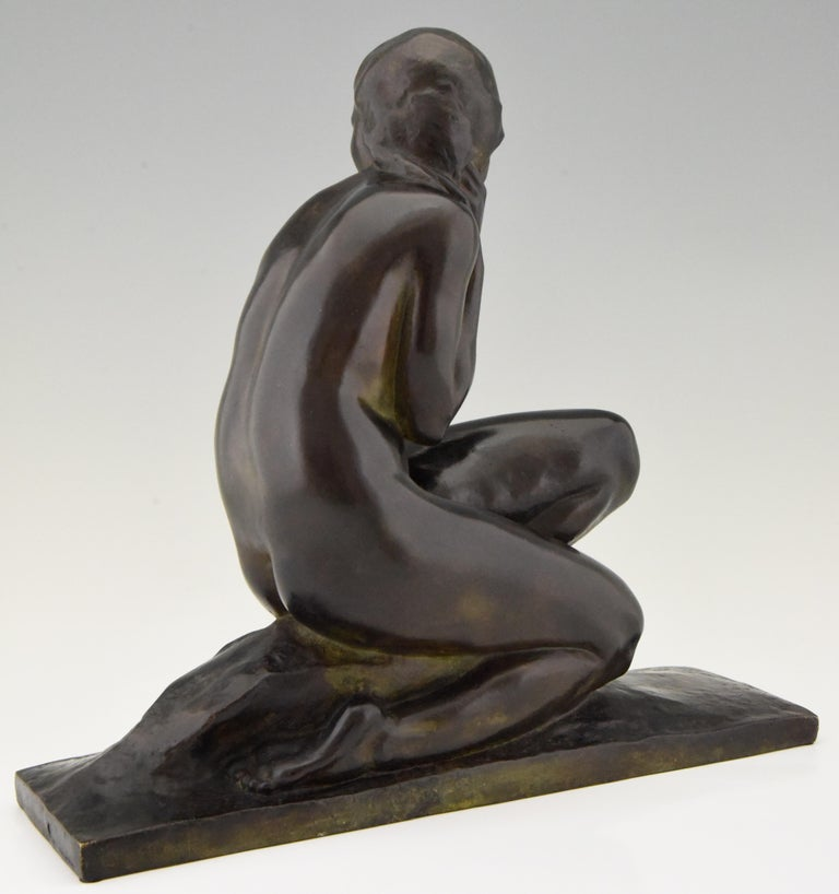 Patinated Art Deco Bronze Sculpture of a Seated Nude Jean Ortis, France, 1930 For Sale