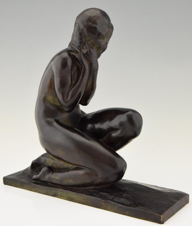 20th Century Art Deco Bronze Sculpture of a Seated Nude Jean Ortis, France, 1930 For Sale