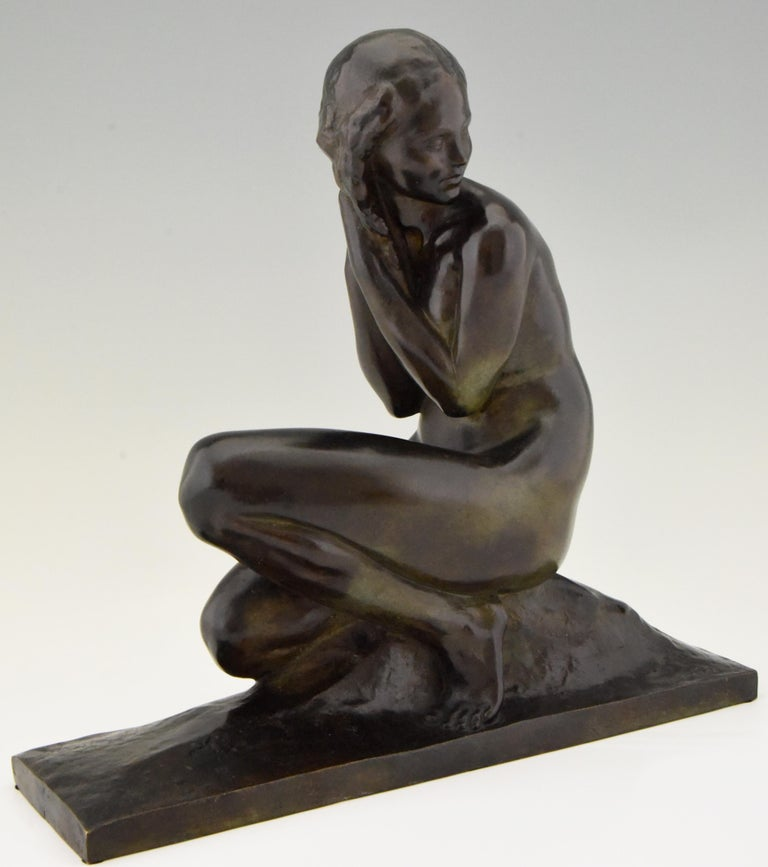 Art Deco Bronze Sculpture of a Seated Nude Jean Ortis, France, 1930 For Sale 2