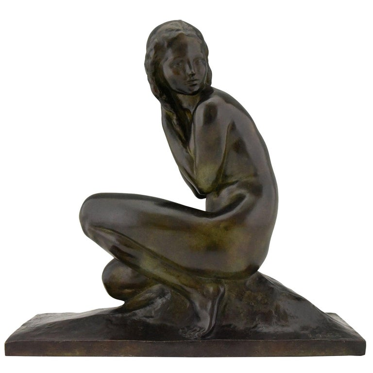 Art Deco Bronze Sculpture of a Seated Nude Jean Ortis, France, 1930 For Sale