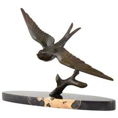 Art Deco Bronze Sculpture of a Swallow Bird by Ruchot, France, 1930