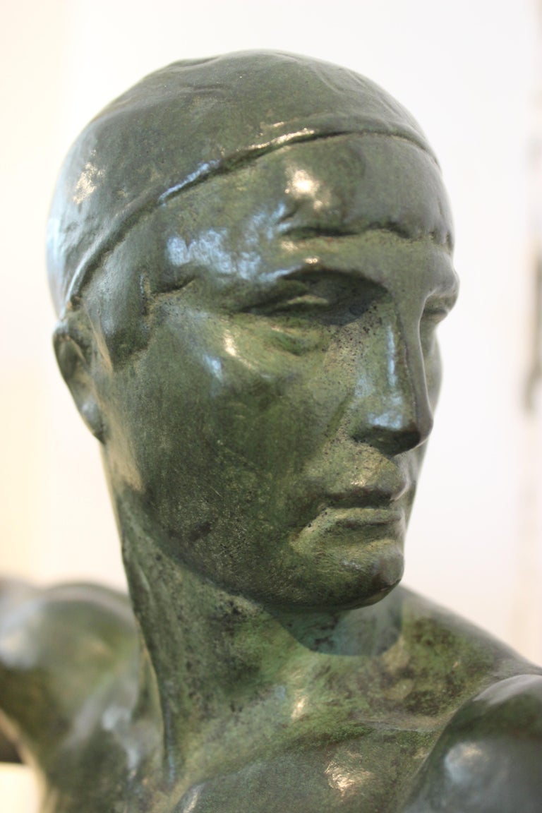 French Art Deco Bronze Sculpture of an Archer by Victor Demanet  For Sale