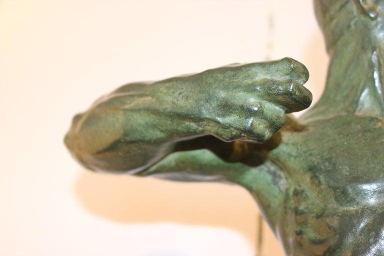 Cast Art Deco Bronze Sculpture of an Archer by Victor Demanet  For Sale