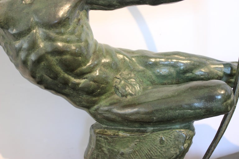 Art Deco Bronze Sculpture of an Archer by Victor Demanet  In Good Condition For Sale In West Palm Beach, FL