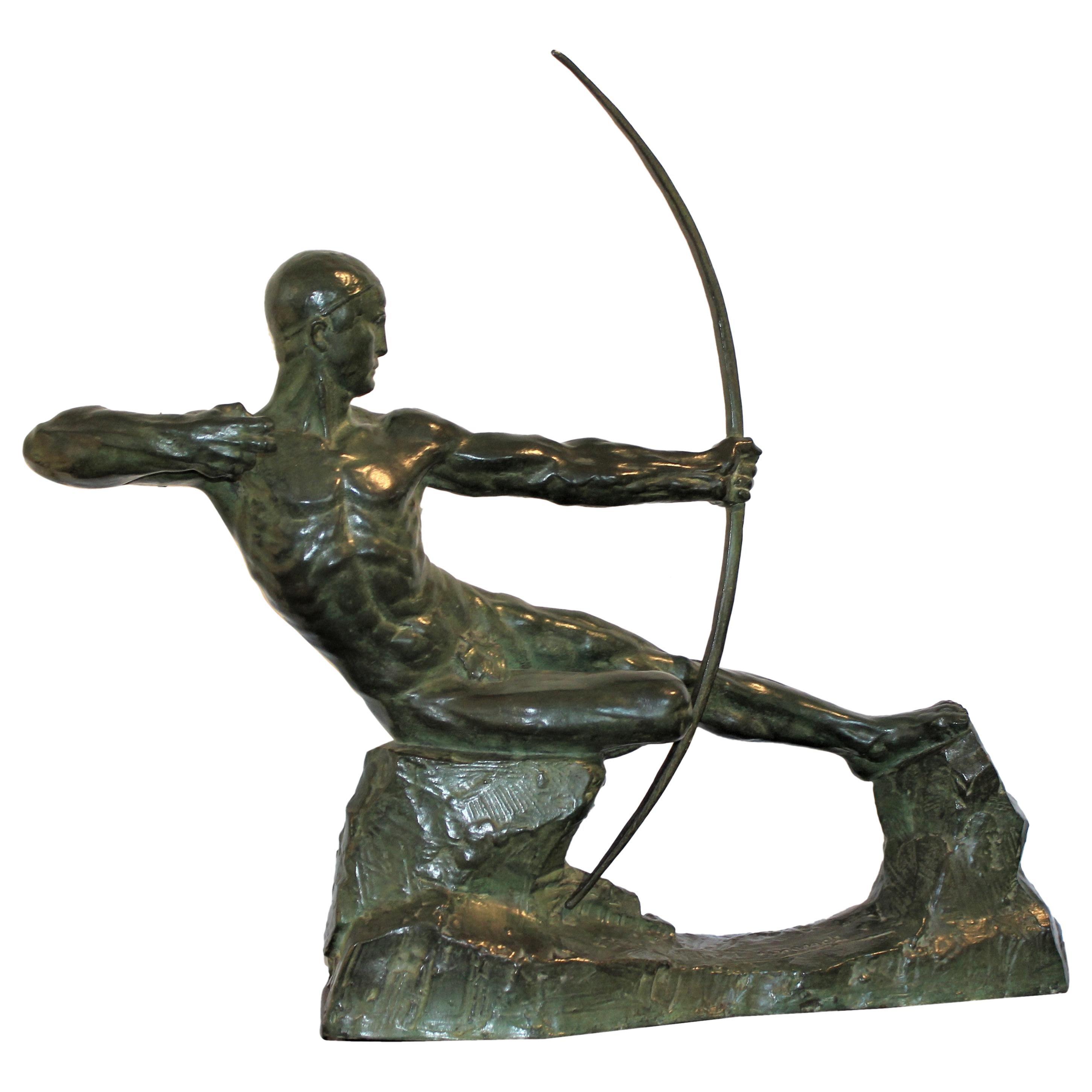 Art Deco Bronze Sculpture of an Archer by Victor Demanet