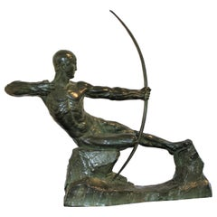 Art Deco Bronze Sculpture of an Archer by Victor Demanet