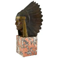 Art Deco Bronze Sculpture of an Indian with Headdress Georges Garreau, 1930