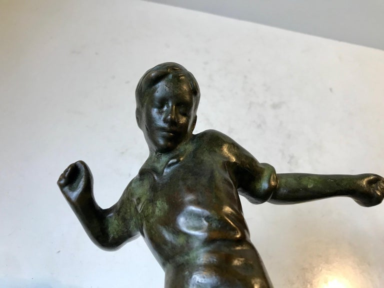 Mid-20th Century Art Deco Bronze Sculpture of Soccer Player, 1930s, Scandinavia For Sale