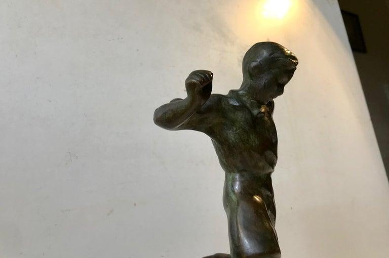 Art Deco Bronze Sculpture of Soccer Player, 1930s, Scandinavia For Sale 1