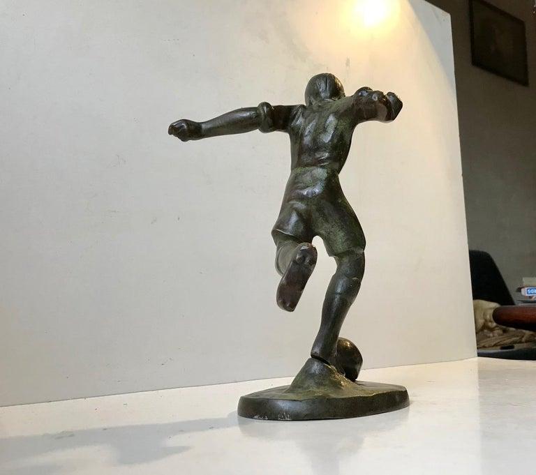 Art Deco Bronze Sculpture of Soccer Player, 1930s, Scandinavia For Sale 3