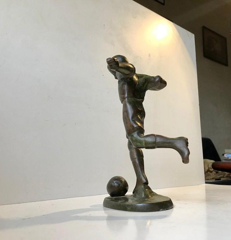 Art Deco Bronze Sculpture of Soccer Player, 1930s, Scandinavia For Sale 4