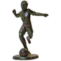 Art Deco Bronze Sculpture of Soccer Player, 1930s, Scandinavia