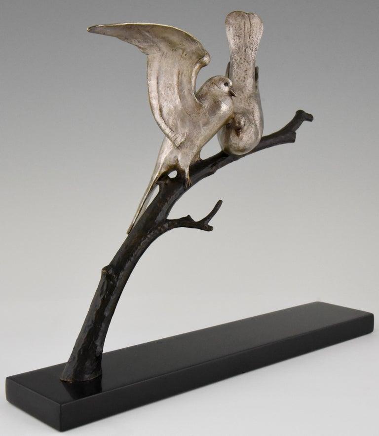 French Art Deco Bronze Sculpture of Two Birds Andre Vincent Becquerel, 1925, France