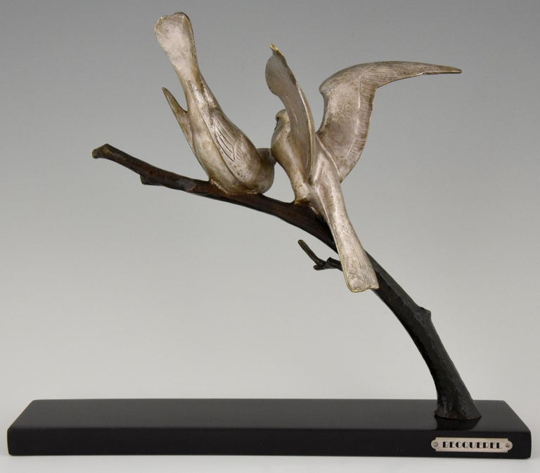 Art Deco Bronze Sculpture of Two Birds Andre Vincent Becquerel, 1925, France 1
