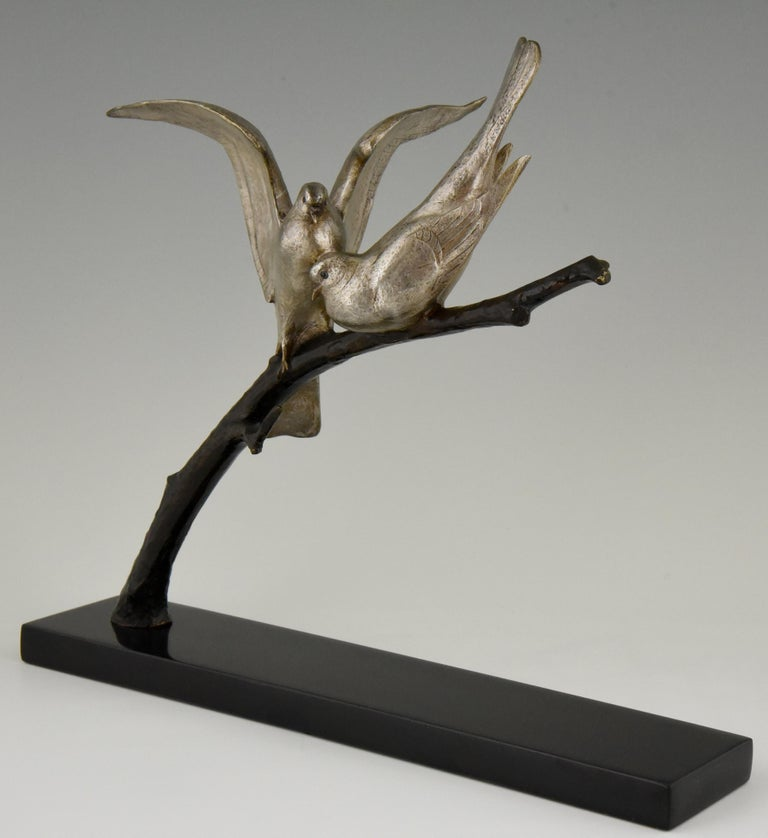 Art Deco Bronze Sculpture of Two Birds Andre Vincent Becquerel, 1925, France 4