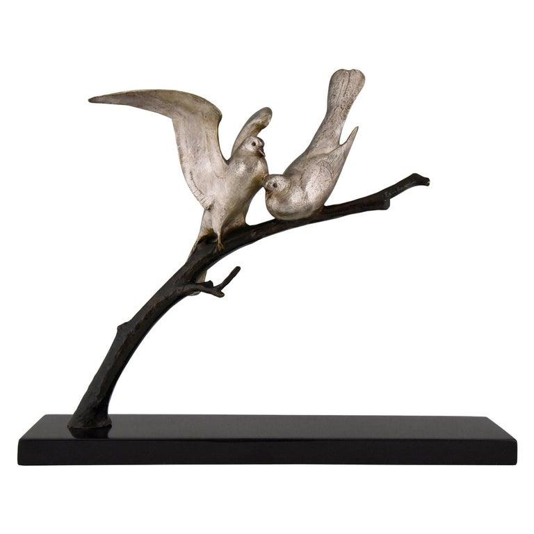 Art Deco Bronze Sculpture of Two Birds Andre Vincent Becquerel, 1925, France