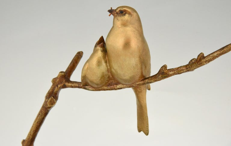Art Deco Bronze Sculpture of Two Birds on a Branch Andre Vincent Becquerel, 1930 5
