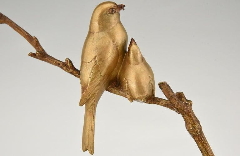 Art Deco Bronze Sculpture of Two Birds on a Branch Andre Vincent Becquerel, 1930 6