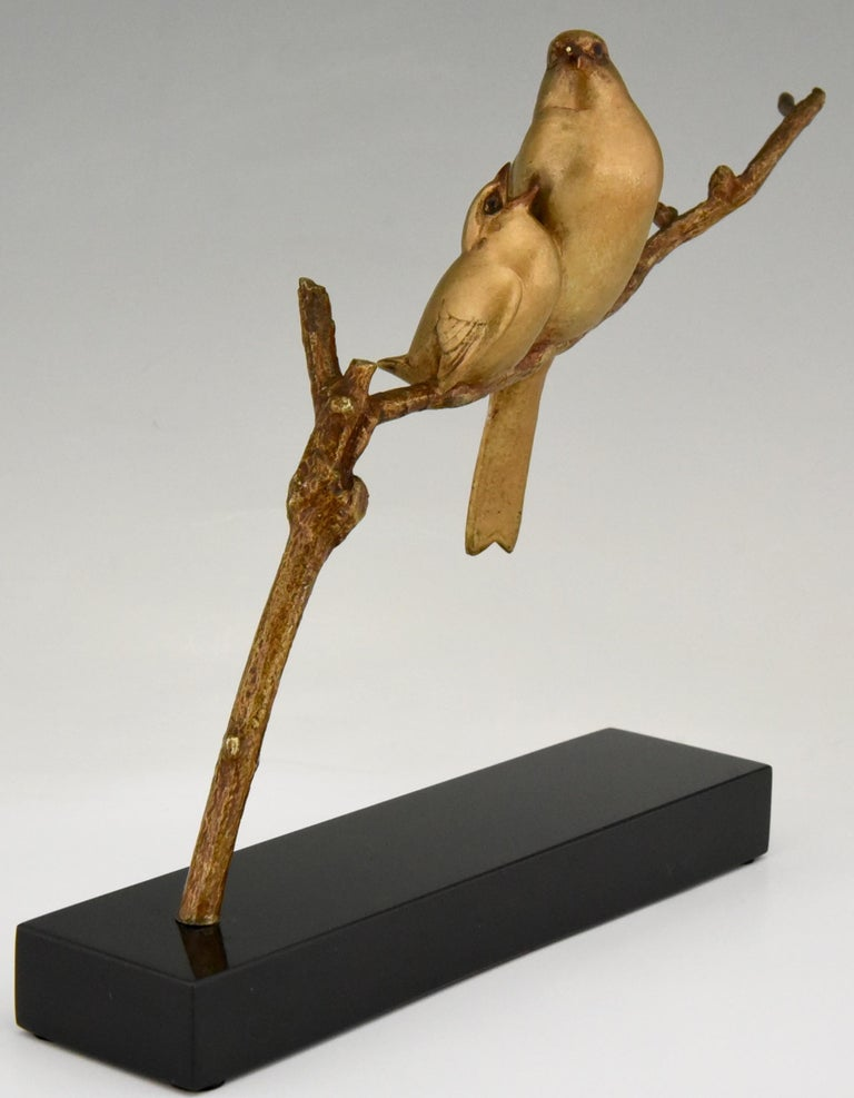 Patinated Art Deco Bronze Sculpture of Two Birds on a Branch Andre Vincent Becquerel, 1930