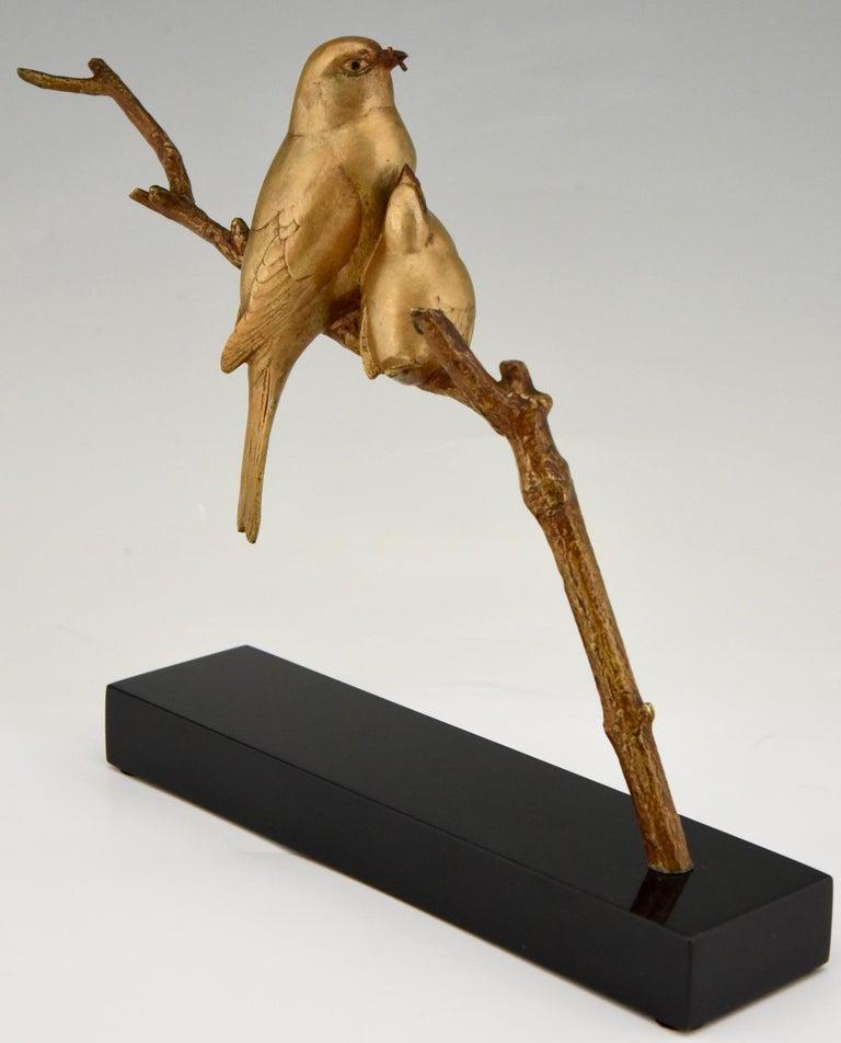 Mid-20th Century Art Deco Bronze Sculpture of Two Birds on a Branch Andre Vincent Becquerel, 1930