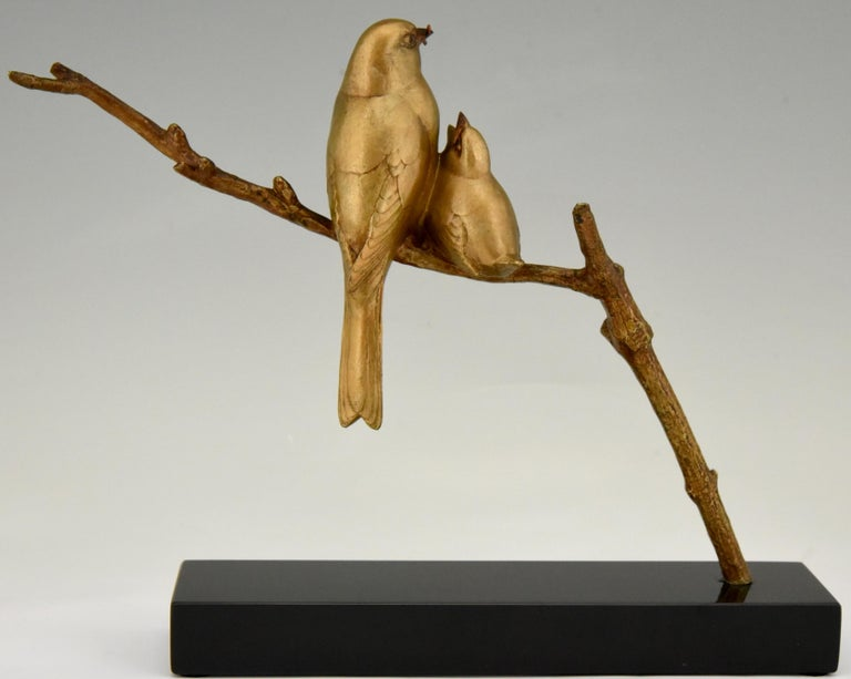 Art Deco Bronze Sculpture of Two Birds on a Branch Andre Vincent Becquerel, 1930 1