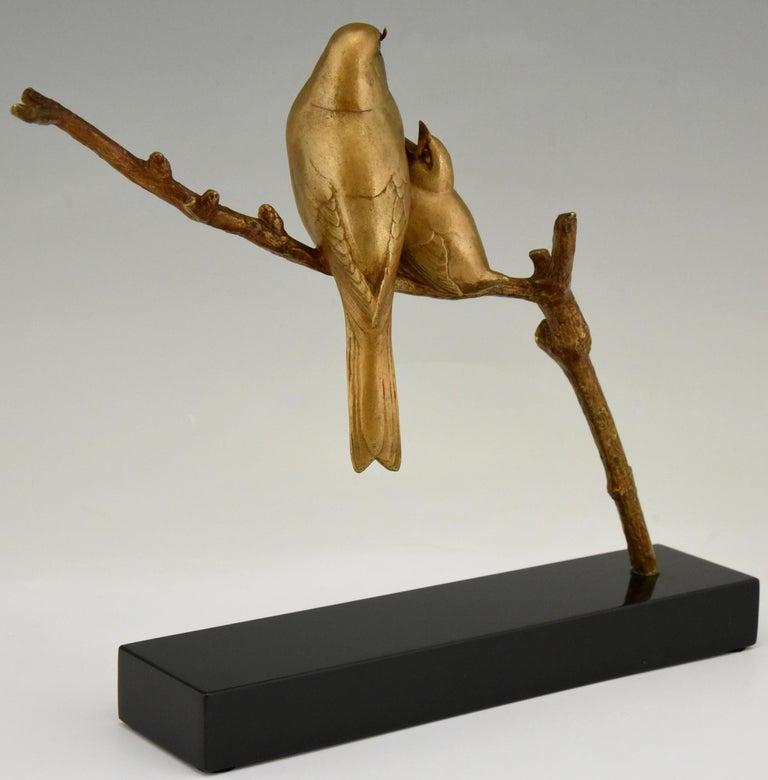 Art Deco Bronze Sculpture of Two Birds on a Branch Andre Vincent Becquerel, 1930 2