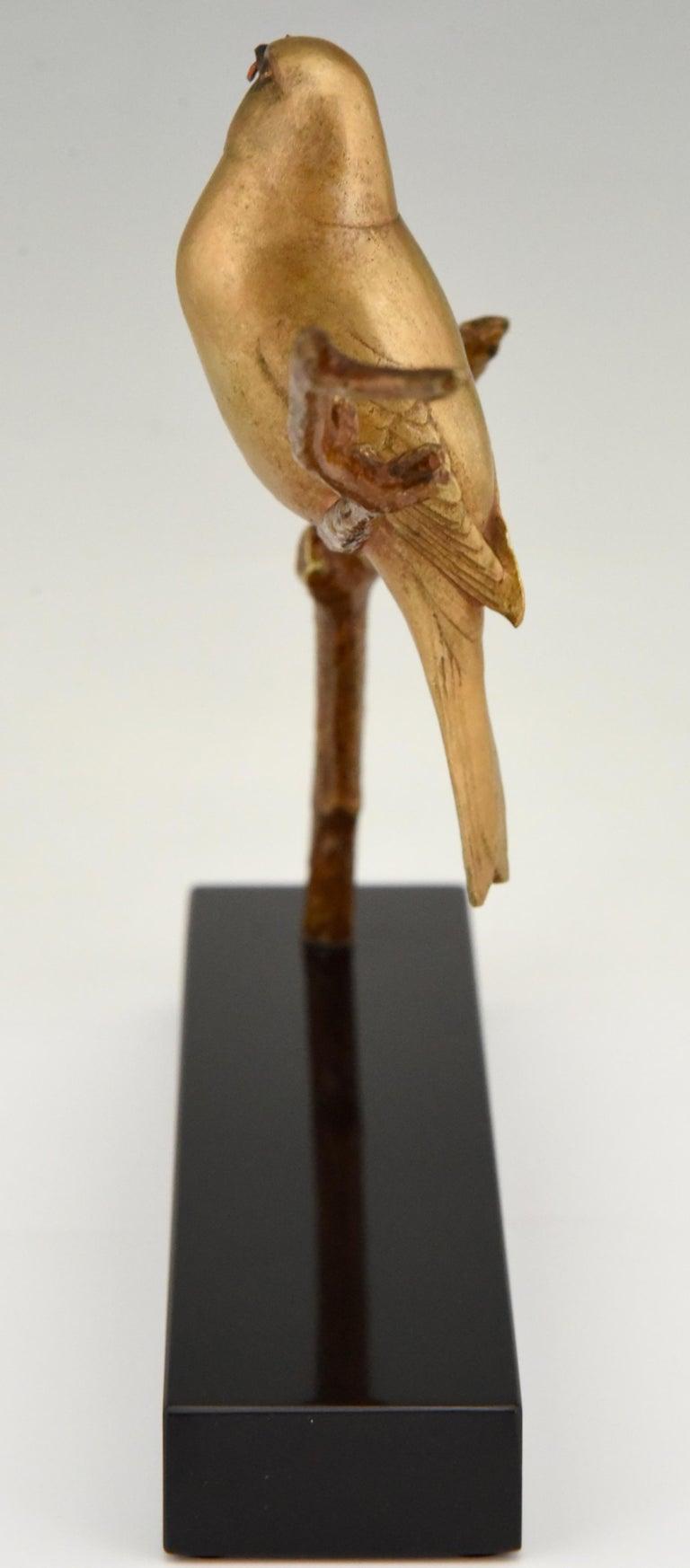Art Deco Bronze Sculpture of Two Birds on a Branch Andre Vincent Becquerel, 1930 3