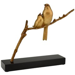 Art Deco Bronze Sculpture of Two Birds on a Branch Andre Vincent Becquerel, 1930