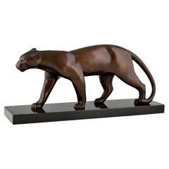 Art Deco Bronze Sculpture of Walking Panther by Bracquemond, France, 1930