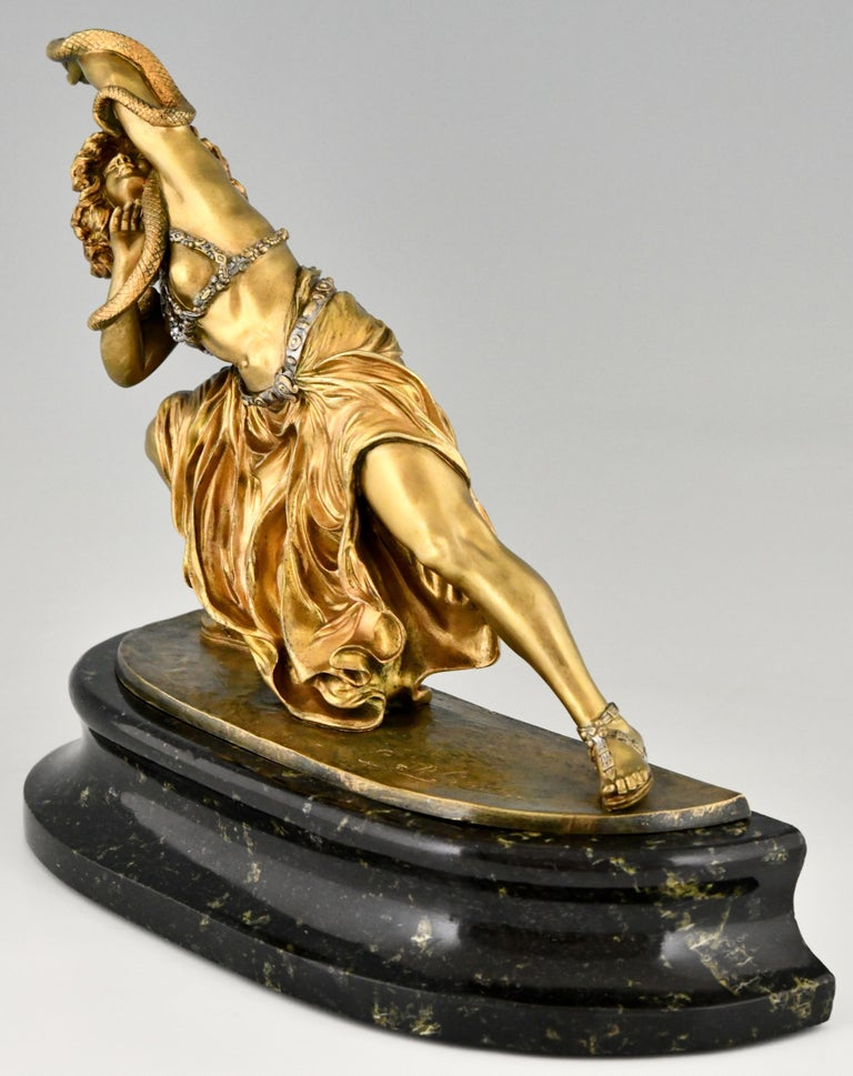 French Art Deco Bronze Sculpture Oriental Dancer with Snake Carthage by Colinet, 1925 For Sale