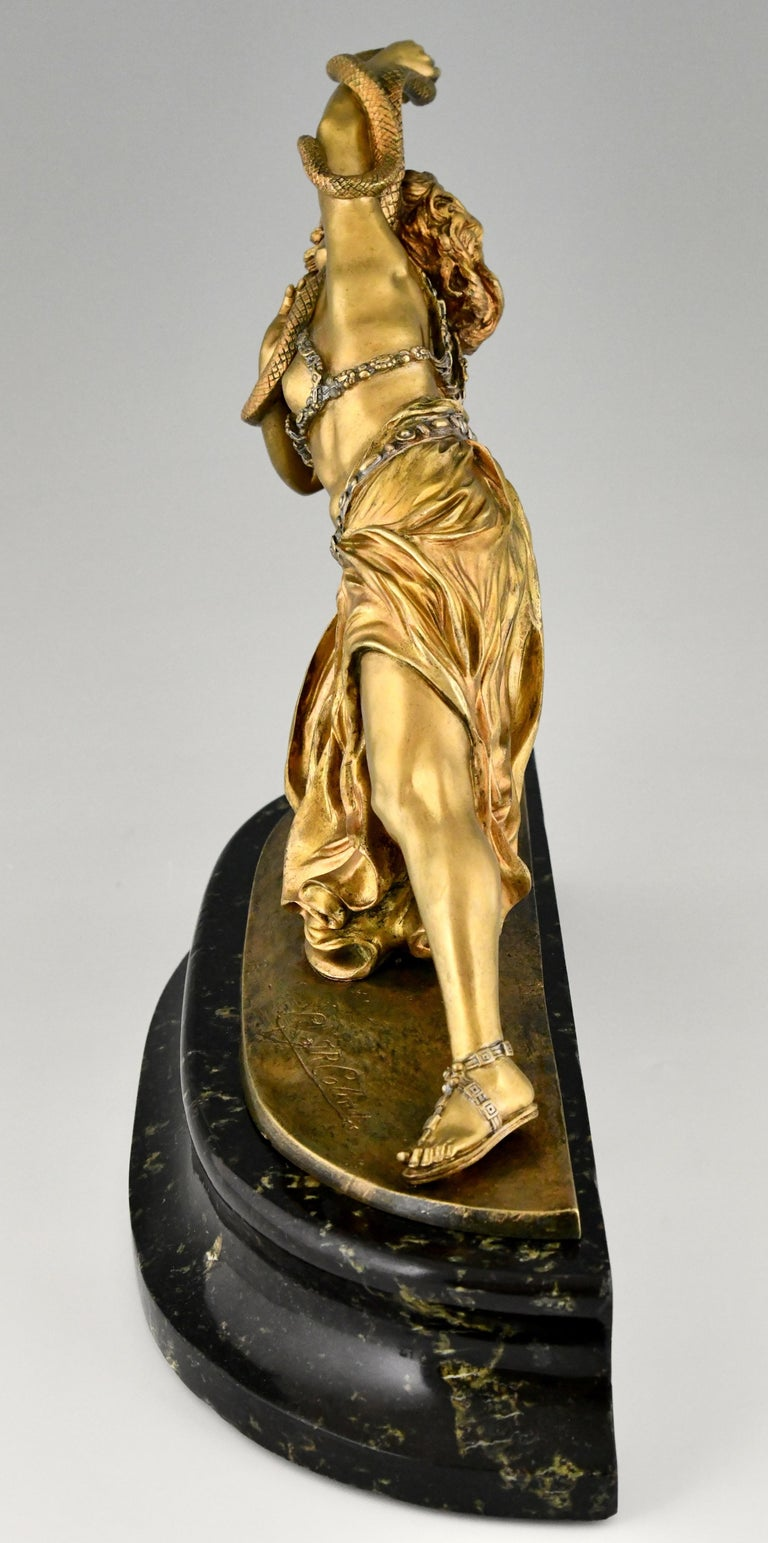 Art Deco Bronze Sculpture Oriental Dancer with Snake Carthage by Colinet, 1925 In Good Condition For Sale In Antwerp, BE