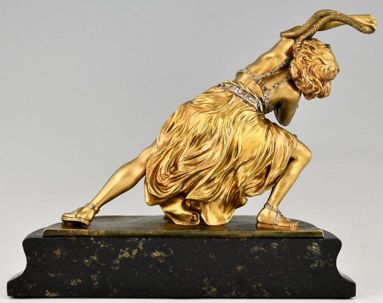 Early 20th Century Art Deco Bronze Sculpture Oriental Dancer with Snake Carthage by Colinet, 1925 For Sale