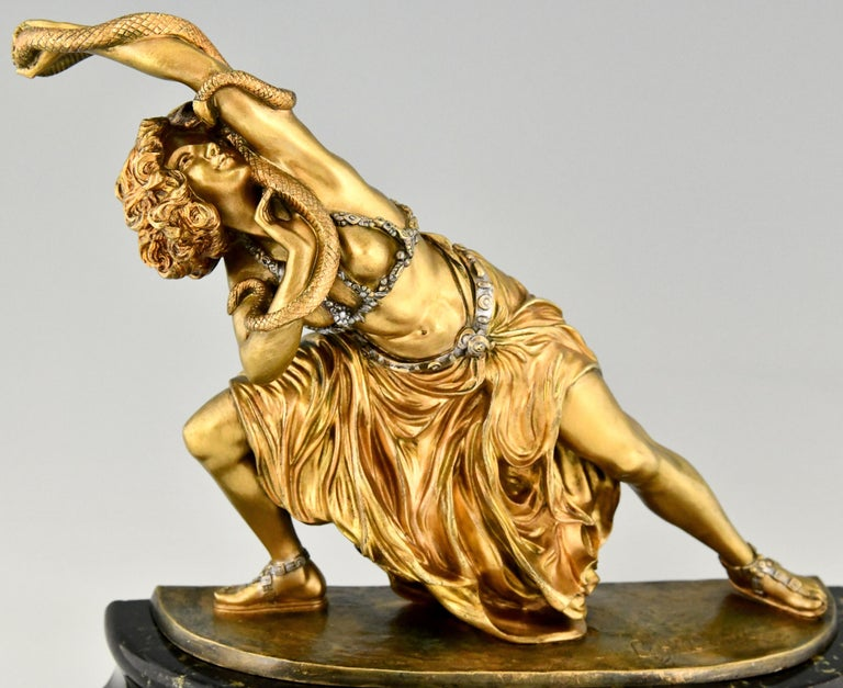 Art Deco Bronze Sculpture Oriental Dancer with Snake Carthage by Colinet, 1925 For Sale 3