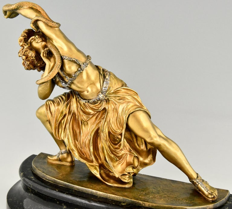 Art Deco Bronze Sculpture Oriental Dancer with Snake Carthage by Colinet, 1925 For Sale 4