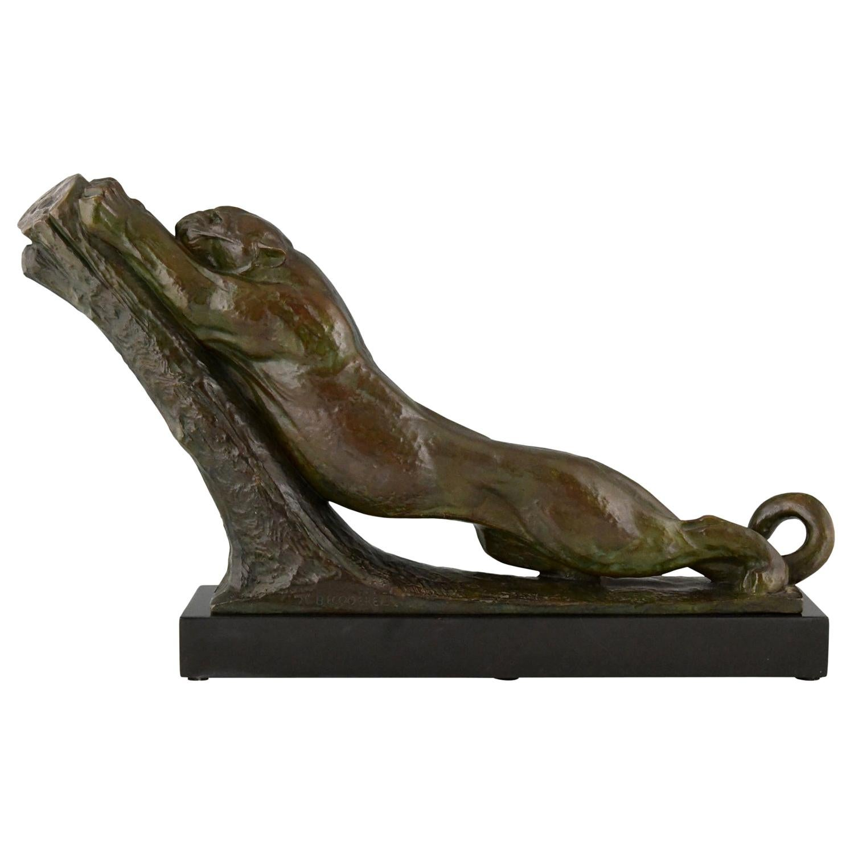 Art Deco bronze sculpture panther André Vincent Becquerel with foundry mark 1925