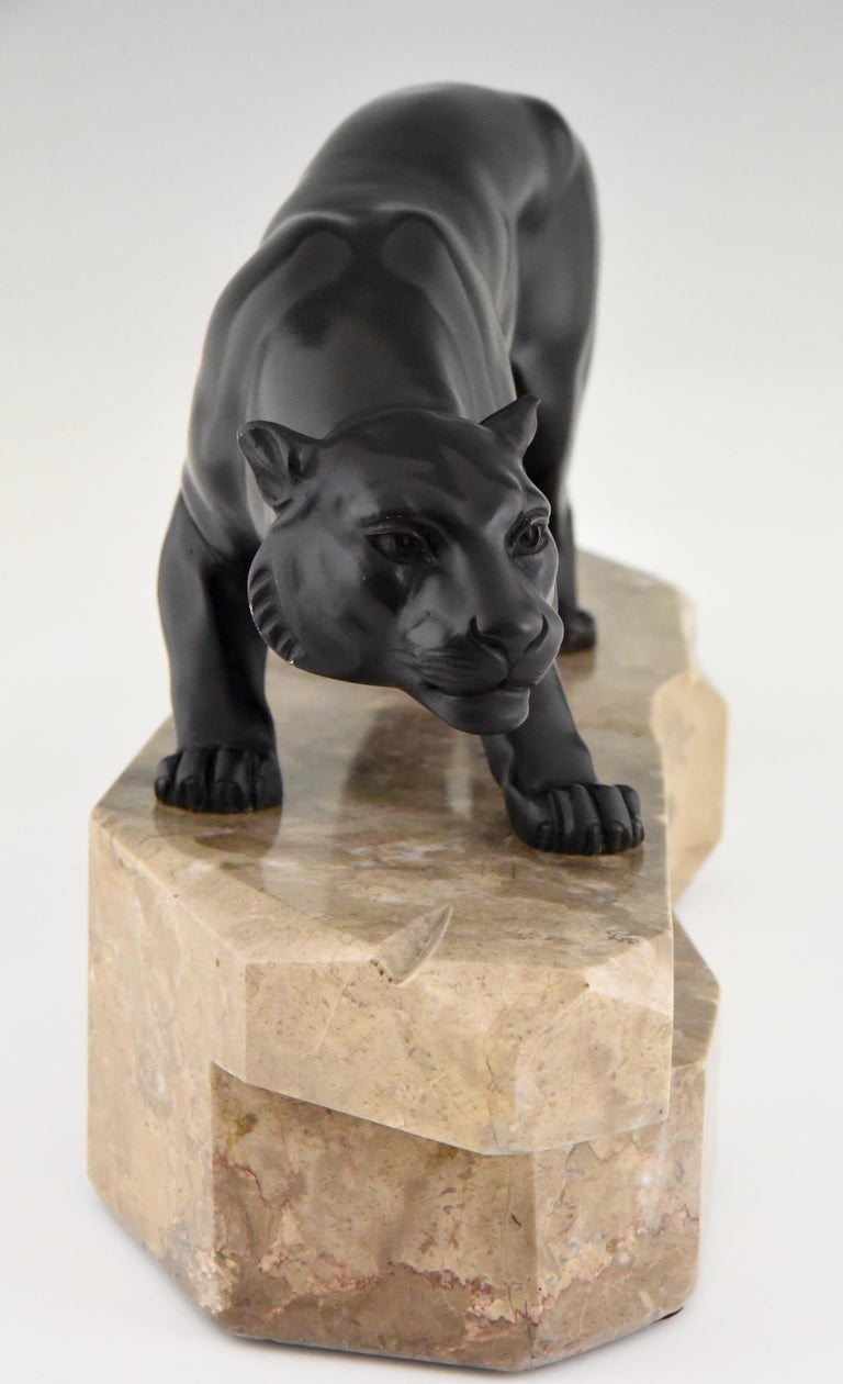 French Art Deco Bronze Sculpture Panther by J. Brault, France, 1930 For Sale