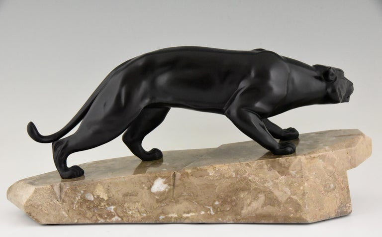 Art Deco Bronze Sculpture Panther by J. Brault, France, 1930 In Good Condition For Sale In Antwerp, BE