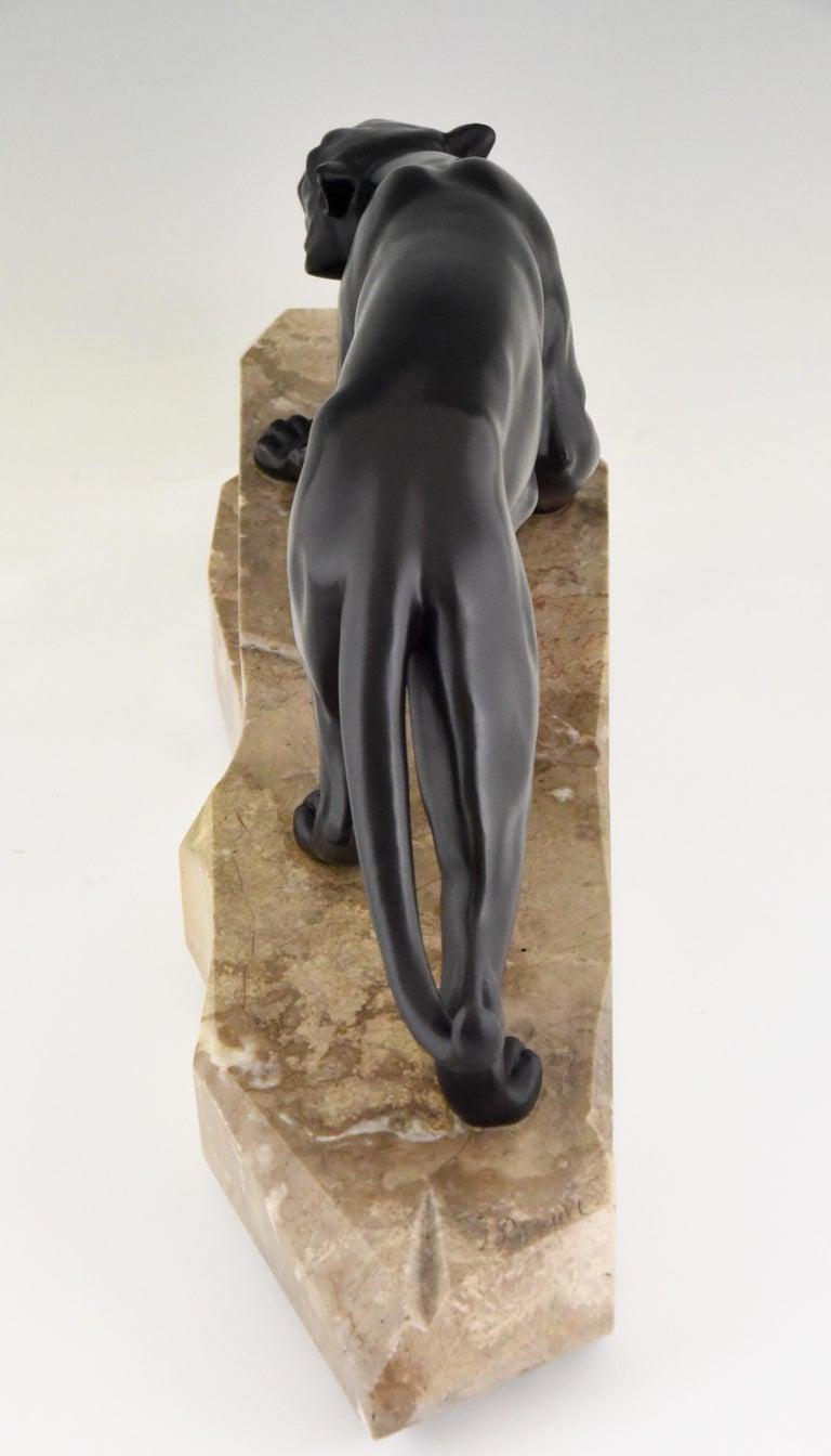 Art Deco Bronze Sculpture Panther by J. Brault, France, 1930 For Sale 1