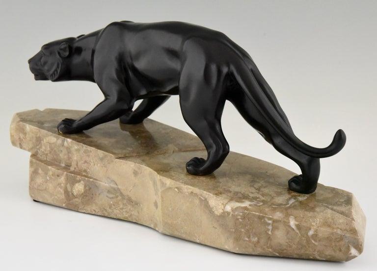 Art Deco Bronze Sculpture Panther by J. Brault, France, 1930 For Sale 2