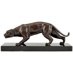 Art Deco Bronze Sculpture Panther J. Brault, France, 1930