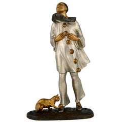 Art Deco Bronze Sculpture Pierrot and Cat Robert Bousquet, France, 1915