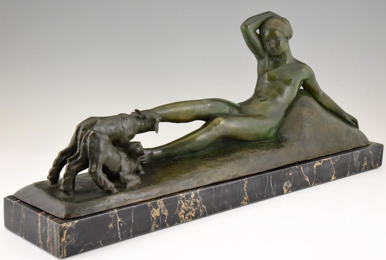 French Art Deco Bronze Sculpture Reclining Nude with Goats Georges Gori, France, 1930 For Sale