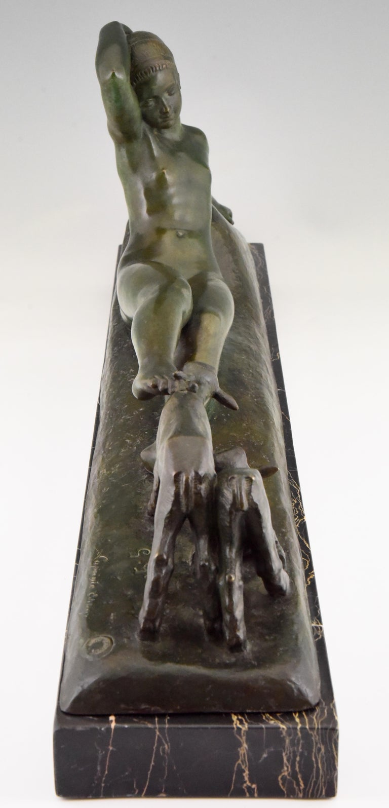 Patinated Art Deco Bronze Sculpture Reclining Nude with Goats Georges Gori, France, 1930 For Sale