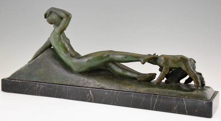 Art Deco Bronze Sculpture Reclining Nude with Goats Georges Gori, France, 1930 In Good Condition For Sale In Antwerp, BE