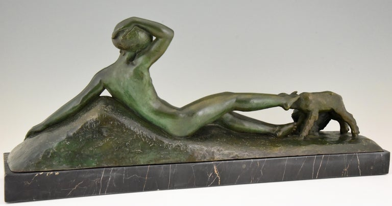 20th Century Art Deco Bronze Sculpture Reclining Nude with Goats Georges Gori, France, 1930 For Sale
