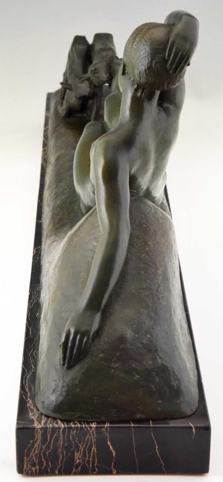Art Deco Bronze Sculpture Reclining Nude with Goats Georges Gori, France, 1930 For Sale 1