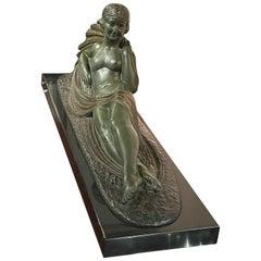 Art Deco Bronze Sculpture Reclining Woman by Darcles