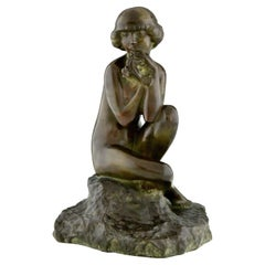 Art Deco Bronze Sculpture Seated Nude with Flowers by Real Del Sarte, 1920